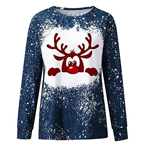 Zldhxyf Sudadera de Navidad para mujer, cuello redondo, manga larga, jersey suelto, alce, blusa, top, camiseta de manga larga, camiseta de manga larga para niña, azul-1, L