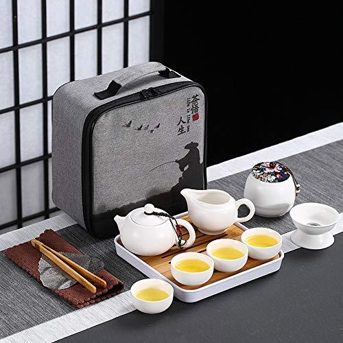 Kilisa Tragbares chinesisches Kongfu Tee-Set, 12-teiliges Reise-Teeservice mit einer Reisetasche und Bambus-Teetablett (1 Kanne & 4 Tassen & 1 Dose & 1 Kanne, weiß)