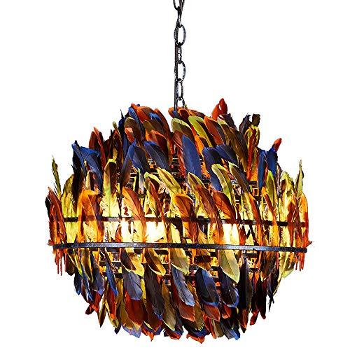 HUUSYGZH Color Retro Pluma Decorada Sombra Luz Colgante, Sombras Lámparas Colgantes de Pluma Grande, E27 Lámpara para Sala Sala De Habitación Dormitorio Comedor