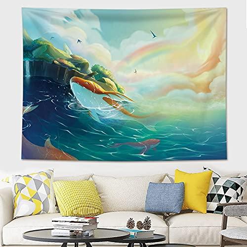 Decoración para el hogar Impresión de ballenas Tapices para colgar en la pared Estera de yoga Manta Decoración de habitación estética Decoración...