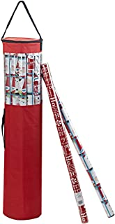 ProPik Gift Wrapping Paper Storage Organizer Bag, Store Up to 24 Rolls 40 Inch, Heavy Duty Polyester Plus PVC Clear Bag with Handles and Zippered Top Wrap and Ribbons (Red)