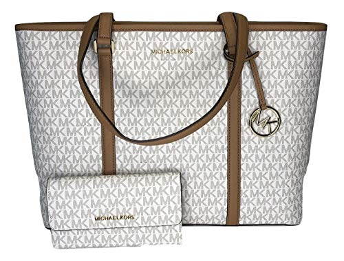 MICHAEL Michael Kors Sady Large MF TZ Tote bundled with Michael Kors Jet Set Travel Large Trifold Wallet (Signature MK Vanilla/Acorn)