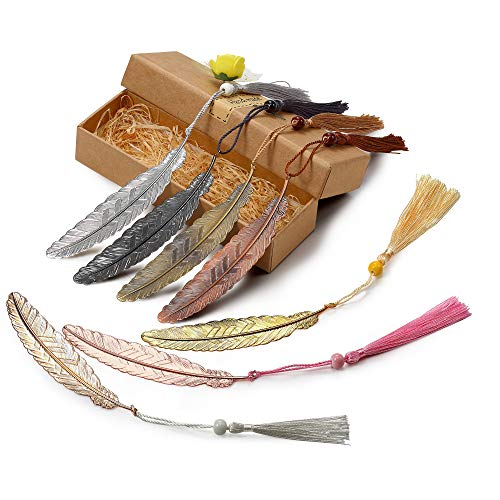 7 Pieces Vintage Metal Feather Bookmarks with Tassels and Beaded for Adults and Kids,Perfect Kids Office School Reading and Gifts and Collections.