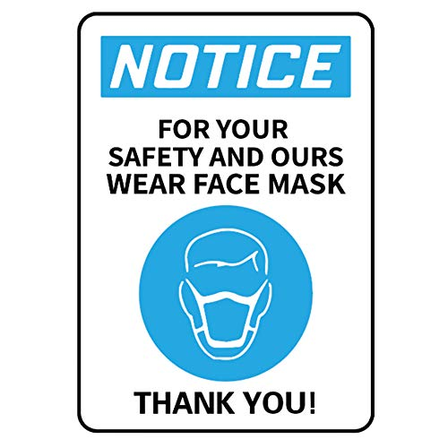 Pack of 5 Wear Face Mask Sign Decal 10x7 Inches, Adhesive Vinyl Sticker Face Mask Required Sign Public Safety Decal for Visitors Business Store Office