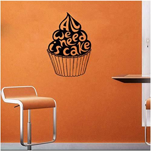 We Need is Cake Quotes Muursticker Sweets Café Fast food Shop Muursticker raamdecoratie Verwijderbare Kunst muurschildering Home Decor57x87cm