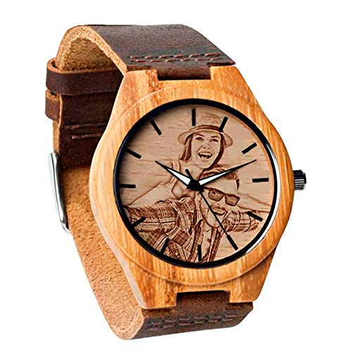wood watches with dates Personalized Customized Wooden Watch with Photo Or Message Double-Side Engraving for Personalized Gift (40MM, Brown)