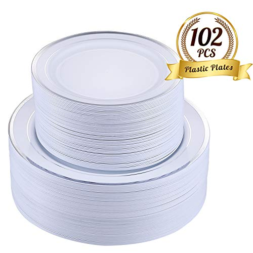 FOCUS LINE 102 pcs Plastic Party Plates White Silver Rim, Disposable Heavey Weight Plates for Wedding, 51 Heavy Duty 10.25 Inch Dinner Plates and 51 Disposable 7.5 Inch Dessert Plates