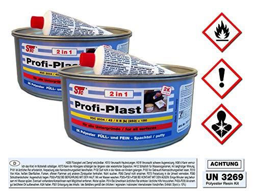 STC 2 kg Profi Plast 2in1 2K Karosserie Polyester Spachtelmasse Füllspachtel Feinspachtel Dose inkl. Härter (2 x 1 kg Dose)