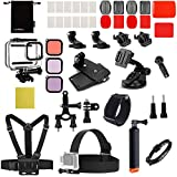 Luxebell Accessories Kit for GoPro Hero 8 Action Camera Underwater Dive Waterproof Housing Case Surfing Swimming Water Sports Clear Filters Float Pole Chest Head Bike Mount