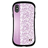 iPhone xr ケース 耐衝撃 可愛い 紫 レース アイホンxrケース iphonexr case人気 スマホケース 全面保護 指紋防止