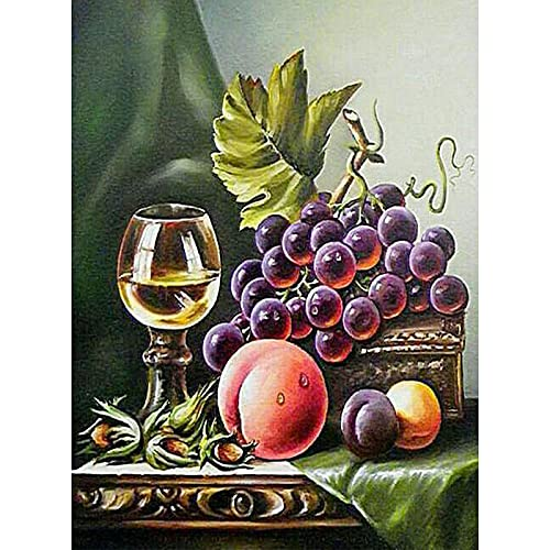 DIY Diamond Painting Kits,Grapes Peaches Wine 5D Diamond Painting Full Drill,Diamond Art Perfect for Relaxation and Home Wall Decor 11.8x15.7 inch