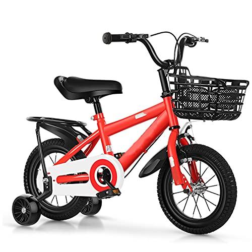 WJS Bicicleta Infantil para Niños Y Niñas Bicicleta 12 14 16 18 Pulgadas,Bicicletas Infantiles para Niños De 2 A 12 Años,Bicicletas con Ruedas De Entrenamiento De Los Niños(Size:18inch,Color:Red)