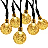 Solar String Light,30 LED 20ft Waterproof Crystal Ball, Outdoor/Indoor Solar Fairy Lights for Garden, Patio, Yard, Christmas, Fence, Xmas Decorations [Energy Class A+++] (Warm White)