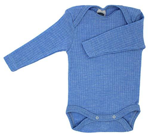 Cosilana Baby Body 1/1 Arm, Größe 98/104, Farbe Blau Meliert - Exclusiv Wollbody®GmbH - Qualität 91 45% Baumwolle kbA, 35% Schurwolle kbT, 20% Seide