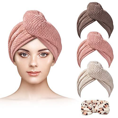 Microfiber Hair Towel NUFR 3+1 Pack Hair Turbans for Wet Hair , Hair Towel Wrap Fast Drying for Curly Hair Women Anti Frizz(Brown/Flesh Pink/Khaki)