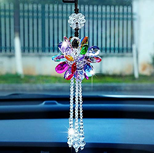 SZWGMY Crystal Flower Car Pendant Hanging Ornament Interior Accessories for Auto Rear View Mirror Hanging Decoration Home Decoration (Colorful)