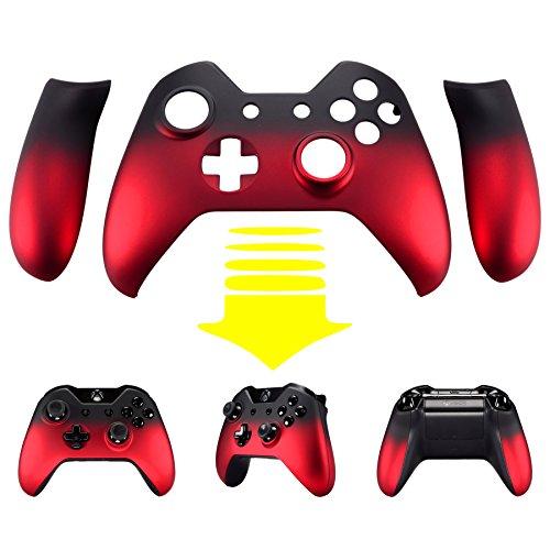 eXtremeRate Carcasa para Xbox One Funda Delantera Agarre Izquierdo Derecho Protectora de la Placa Tacto Suave Cubierta Antideslizante Asa Mango para Controlador de Xbox One Original(Sombra Rojo)