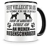 Samunshi Ich denke an meinen Riesenschnauzer Hunde Tasse Kaffeetasse Teetasse Kaffeepott Kaffeebecher Becher