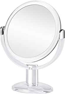 Orange Tech Double Sided Magnifying Makeup Mirror, 1X & 10X Magnification with 360 Degree Rotation, Magnified Vanity Mirror for Bathroom or Bedroom Table Top - Clear & Transparent