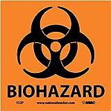 NMC S52P Warning Sign with Graphic, 'BIOHAZARD', 7' Width x 7' Height, Pressure Sensitive Vinyl, Black on Orange