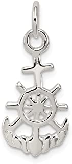 925 Sterling Silver Nautical Pendant Charm Necklace Religious Cross Mariner Fine Jewelry Gifts For Women For Her