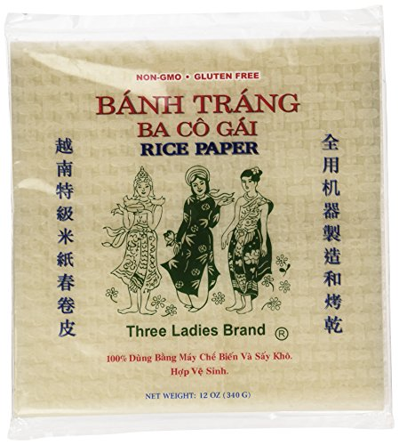 Three Ladies Spring Roll Rice Paper Wrappers (Square 22cm)