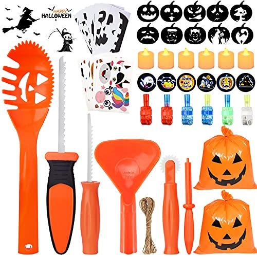 Pumpkin Carving Kit for Kids, 6 Halloween Pumpkin Carving Tools Set + 6 LED Candles + 6 LED Rings + 6 Pumpkin Stickers + 10 Carving Stencils + 2 Lawn Bags , DIY Jack-O-Lanterns Halloween Decorations