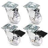 PRIOstahl  Ruedas transparentes para muebles | Set | 2 giratorias, 2 ruedas giratorias + freno | Ruedas de transporte Ø 50 mm