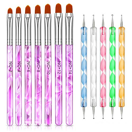 Sprießen Pinceles para Uñas Dotting Pen, 7 Pincel para uñas de gel UV, 5 Dot Paint Pen, Pincel Uñas Acrílicas Lápices para uñas naturales, uñas postizas, uñas acrílicas, marmoleado
