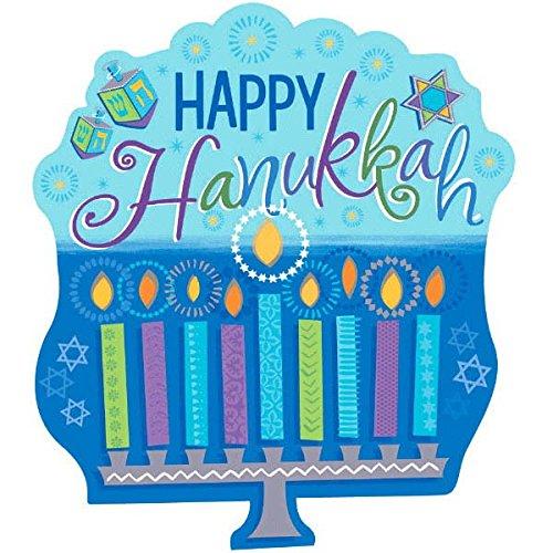 amscan Joyous Hanukkah Festival Menorah Cutout Wall Decoration, Blue/Teal, Paper, 15' x 13', Pack of 1