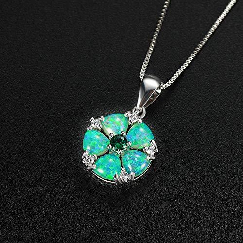 Collares con Colgante De Ópalo De Fuego Blanco Verde para Mujer, Collares De Piedra De Nacimiento De Flor De Circonita Cúbica (48 Cm)