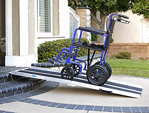 Clevr 6' (72' X 31') Extra Wide Non-Skid Traction Aluminum Wheelchair Scooter Loading Ramp, Lightweight Folding Portable, Holds Up to 600 lbs