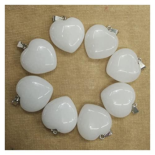 YUNGYE Moda Amor Forma Natural Blanco Colgantes de Piedra para joyería Haciendo 30 mm 8pcs / Lote