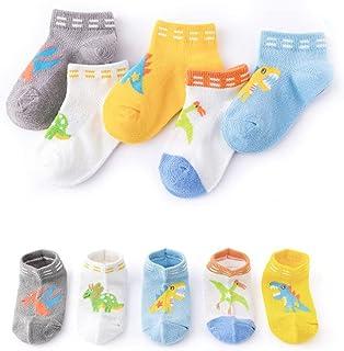 XM-Amigo Calcetines de algodón para niñas y niños, con diseño de dinosaurios, transpirables, para niños de 1 a 12 años