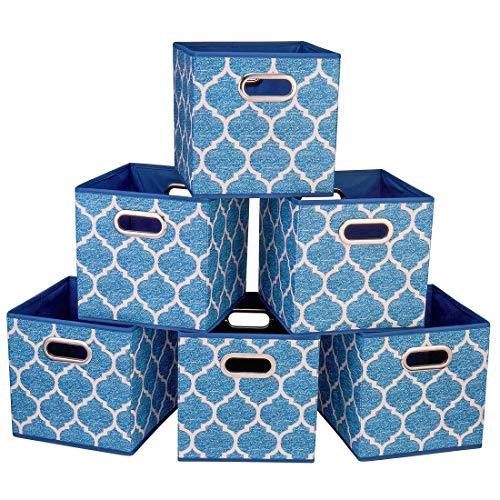 i BKGOO Cajas de almacenamiento plegables Juego de 6 cajones de tela Organizador con asas metálicas dobles para estante Estante de armario Rayas farol azul marino 26,5x26,5x28 cm