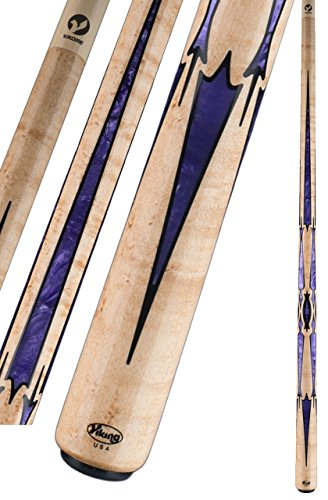 Lowest Price! Viking A867 Birdseye Maple Black & Purple Pearl Pool/Billiard Cue Stick 13mm