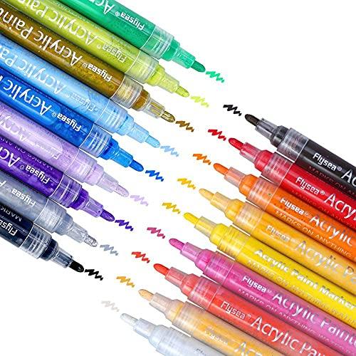 Rotuladores acrílicos, 18 colores, rotuladores impermeables para pintura en piedra, juego de bolígrafos, manualidades, cerámica, vidrio, porcelana, metal, plástico, madera, tela con punta reversible
