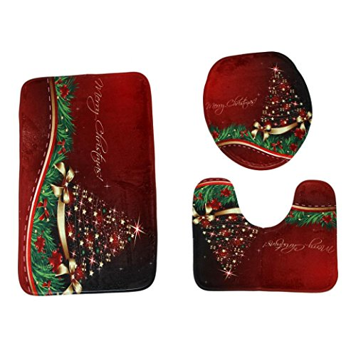 3Pc Merry Christmas Bathroom Mats Set, Non-Slip Fashion Pedestal Rug + Lid Toilet Cover + Bath Mat (G)