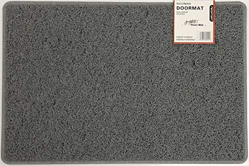 Nicoman Felpudo Alfombrilla para Trampero de Barrera, Tapete de Piso Resistente - (Usar en Interiores y Exteriores) - Pequeño (60x40cm), Gris