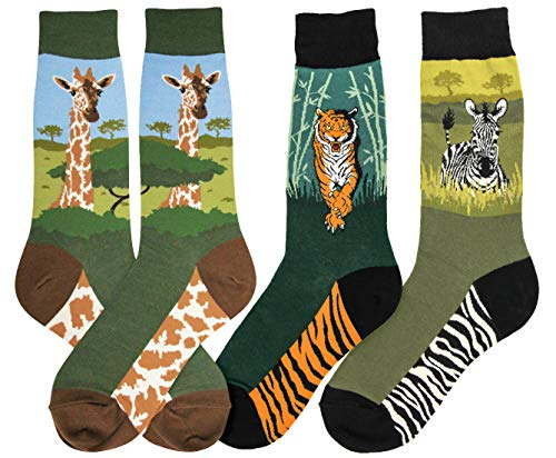 Foot Traffic, Men's Animal-Themed Socks, Fits Mens Shoe Sizes 7-12 (Tiger, Zebra, Giraffe)