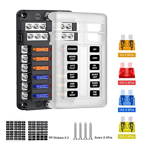 Caja de fusibles LncBoc, bloque de fusibles de 12 vías con indicador LED, caja de fusibles de 12 circuitos con autobús negativo para 12 V/24 V automotriz, barco, SUV, furgoneta