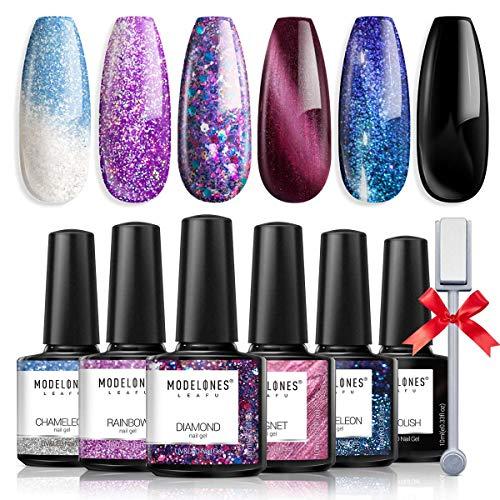 Cat Eye Gel Nail Polish - Glitter Mood Color Changing Holographic Fingernail Polish