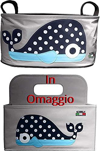 Borsa Passeggino & In Omaggio Organizer Fasciatoio! - Igienizzabile, Impermeabile, Pratica e Resistente. Portaoggetti Passeggino Universale - Design Italiano by Gorilla -
