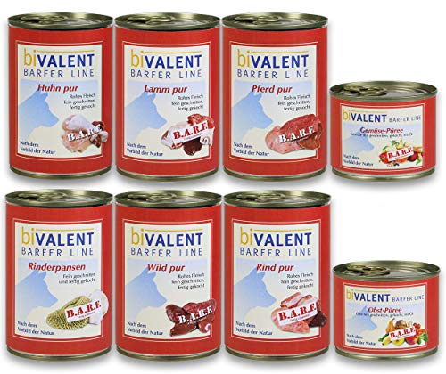 biVALENT BarferLine Probierset Hundemenü Mix - 8 Sorten I 100% rohes Fleisch - Hundefutter nach dem Vorbild der Natur (16x 400g)