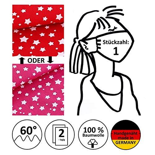 Mund- und Nasenmaske, Alltagsmaske, Behelfsmundschutz, Gesichtsmaske, Community-Maske -Erwachsene- - rot/pink mit Sternen - handgenäht in Deutschland