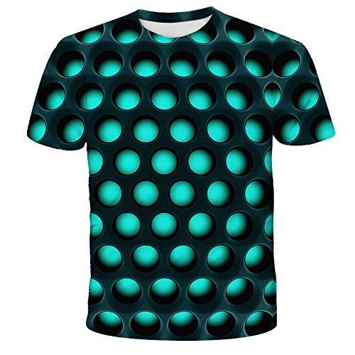 Unisex Camiseta,Verano De Malla Geométrica Impresión Digital 3D De Gran Tamaño para Hombres Y Mujeres Casual Cuello Redondo Camisa De Manga Corta-4Xl