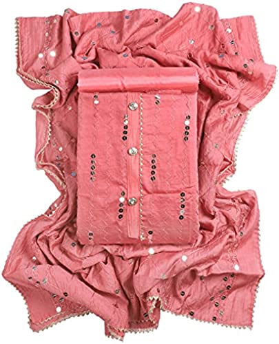 Women s Cotton Silk Sequin Embroidery Unstitched Salwar Suit Dress Material 2 Mtr Silk Salwar Stylish Work Dupatta By 24 Carat Suit Design 45 Free Size