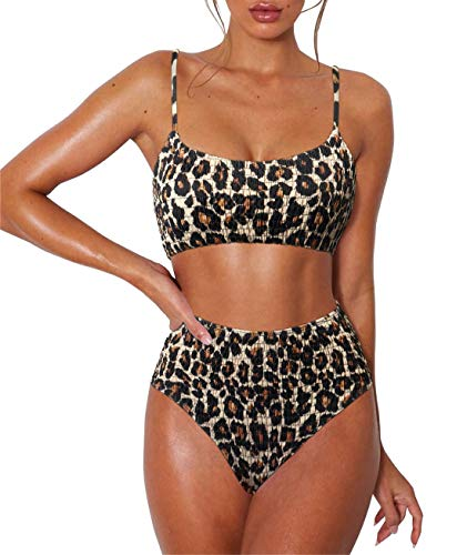 RXRXCOCO Womens High Waisted Bathing Suits Cheetah Leopard Bikini Snakeskin Swimsuits