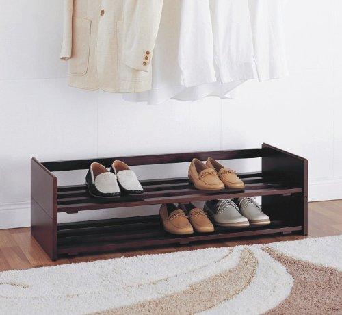 Organize It All Étagère à chaussures empilable à 2 niveaux en acajou (17081W)