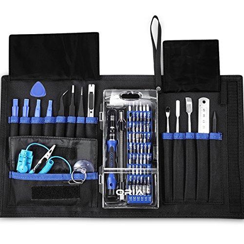 Oria Schraubendreher Set Magnetic Austauschbar Magnetverschluss Hardware Werkzeugset Reparatur (Blau 76 in 1)